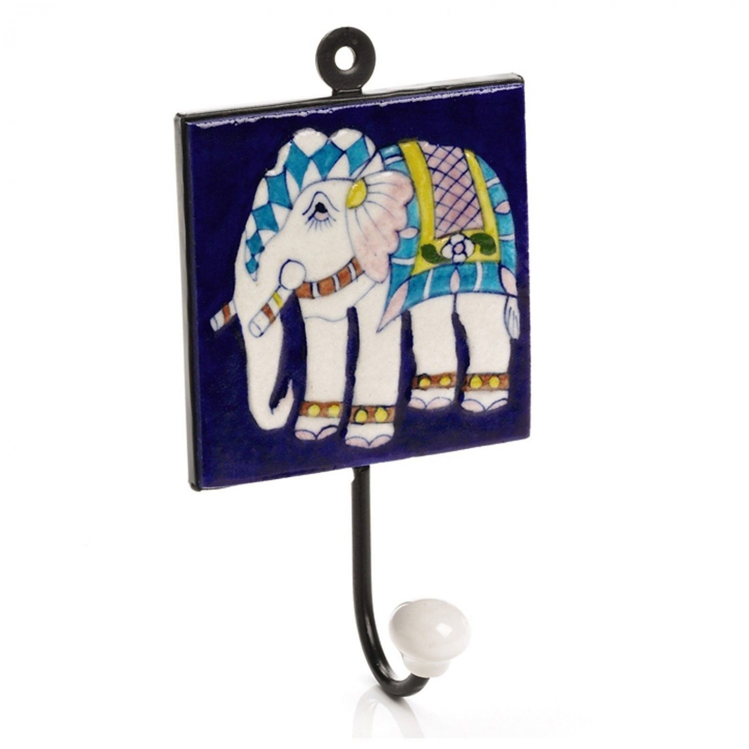 Elephant Blue Pottery Tile Wall Hanging Hook Decorative Accent Home Decor Accent