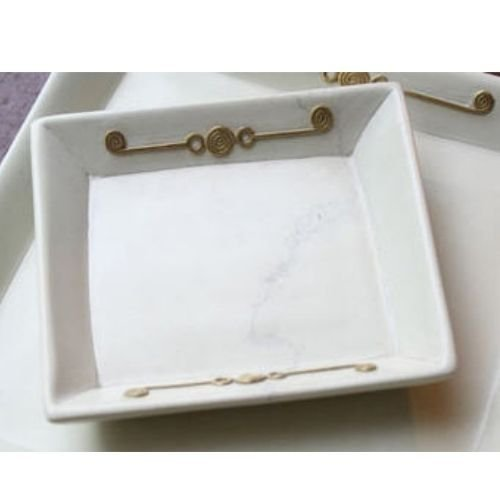 Square Dish Tray w Brass Emblems Natural Stone Desk Accessories African Art