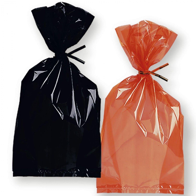 Halloween Goody Bags Orange & Black Cello Treat Bags Bulk Lot 6 Retail Pkgs