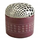 Decorative Box Round Stone Keepsake Boxes Spotted Animal African Art Carved