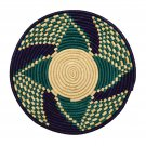 Blue and Teal Checkered Design Fruit or Display African Basket Home Decor