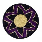 Purple and Navy Burst Design Fruit or Display African Basket Handwoven Home Deco
