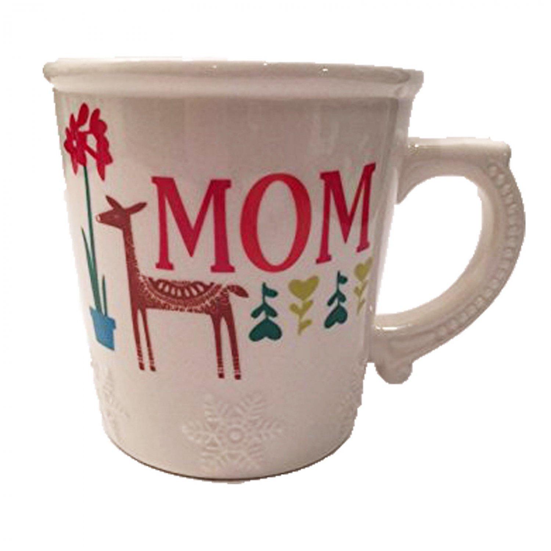 Love You Mom Mug Cup Holiday Christmas Snowflake Deer Design Hallmark