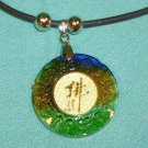 Necklace Round Design with Asian Symbol Traditional Colored Glaze