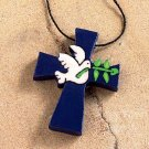 Necklace Blue Wooden Cross with White Dove of Peace