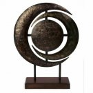 Bronze Colored Metal Round Decorative Sculpture on Wood Stand