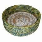 """12"""" Warming Bread Basket with Lotus Warmer Tile Stone Hand Woven For Rolls Appet"""