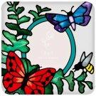 Butterflies & Fern Botanical Hand Painted Art Glass Photo Frame Refrigerator Fri