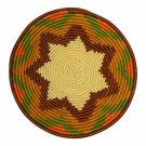 African Basket Cinnamon Spice Rim Autumn Tones Raffia Fruit or Display Home Deco