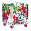 Candle Holder Dragonfly Fuchsias Art Glass Mini Tea Light