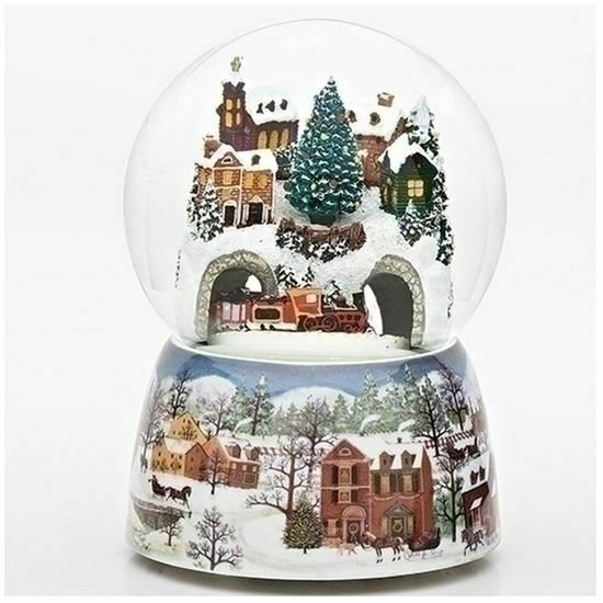 Train Tunnel Revolving Musical Glitter Dome Plays Jolly Old Saint Nicholas
