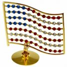 USA Flag Figurine 24K Gold Plated Tabletop with Red White Blue Crystals