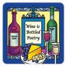Wine Is Bottled Poetry Hand Painted Art Glass Refrigerator Fridge Magnet