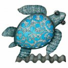 Sea Turtle Metal/Glass Coastal Table/Wall Decor Beach Coastal Decor