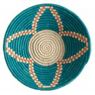 Fabulous Teal Floral Blossom Raffia Fruit or Display African Basket Home Decor