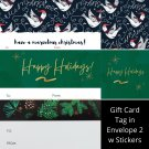 Winter Holiday TO FROM Gift Card Tag in Envelope 2 w Matching Sticker Seal Set of 12 #15