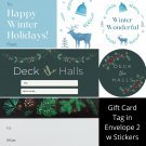 Winter Holiday TO FROM Gift Card Tag in Envelope 2 w Matching Sticker Seal Set of 12 #14