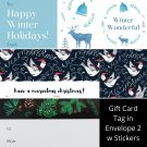 Winter Holiday TO FROM Gift Card Tag in Envelope 2 w Matching Sticker Seal Set of 12 #13