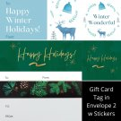 Winter Holiday TO FROM Gift Card Tag in Envelope 2 w Matching Sticker Seal Set of 12 #12