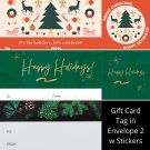 Winter Holiday TO FROM Gift Card Tag in Envelope 2 w Matching Sticker Seal Set of 12 #11