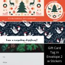 Winter Holiday TO FROM Gift Card Tag in Envelope 2 w Matching Sticker Seal Set of 12 #10