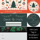 Winter Holiday TO FROM Gift Card Tag in Envelope 2 w Matching Sticker Seal Set of 12 #9