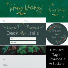 Winter Holiday TO FROM Gift Card Tag in Envelope 2 w Matching Sticker Seal Set of 12 #1