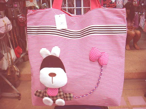Handmade Handbag - Pink with Dog