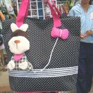 Handmade Handbag - Black with Dog