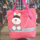 Handmade Handbag - Red with Dog