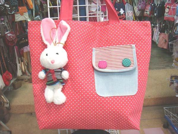 Handmade Handbag - Red with Bunny