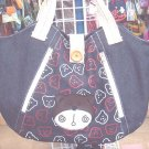 Handmade Handbag - Denim with Teddy Bear