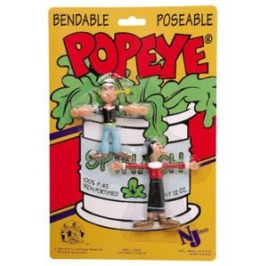 Retro Popeye and Olive Oyl Bendable Figures