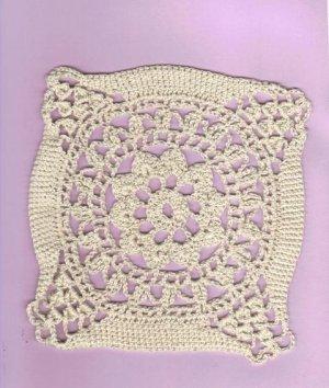 Vintage Hand Crochet Motif Doily, Seven Inches Square