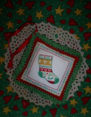 New Fabric Christmas Ornament with Hand Crochet Edging