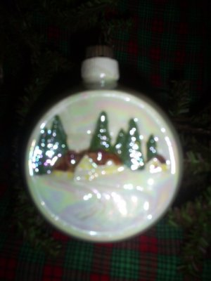 Vintage Handmade Ceramic Christmas Ornament, House in Snow