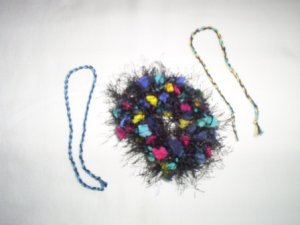 Hand Crochet Scrunchi & Two Friendship Bracelets in Varigated Colors, New
