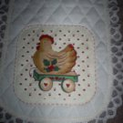 Holiday Chicken Table Runner, New, Handmade