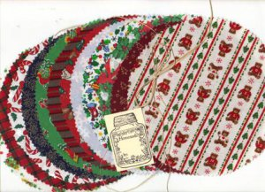 Holiday Canning Jar Covers, Labels, Raffia, New