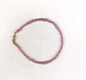 Handmade Pink Beaded Bracelet, 7 1/2 inches New