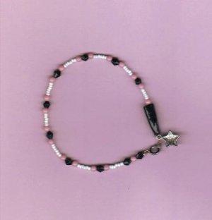 """Pink/Black/White Beaded Ankle Bracelet or Bracelet, 8"""" New"""