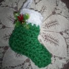 Green Hand Crochet Christmas Stocking Ornament, New, Hand Crochet
