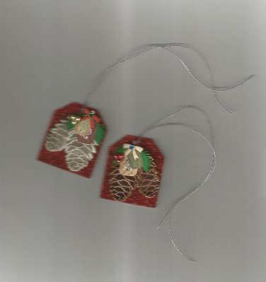 Package of Six Glitter  & Pinecone Gift Tags, New