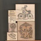 Set of Five Rubber Stamps/Wood Mounts, Stampin Up