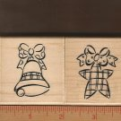 Set of Two Rubber Stamps/Wood Mounts, Christmas Ornaments