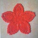 "Hand Crochet Pineapple Doily, 9"", Bright Orange, New"