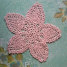 "Hand Crochet Pineapple Doily, 9 1/2"", Soft Pastel Pink, New"