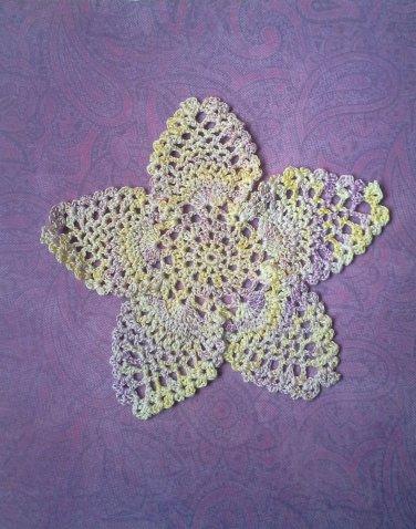 "Hand Crochet Pineapple Doily, 7 1/2"", Varigated yellow, lavenders, New"