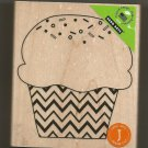 "Zig zag rubber cupcake stamp on wood  3X3 1/2"", new"