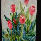 After the Rain, tulips, red, blossums, watercolor on paper, less frame